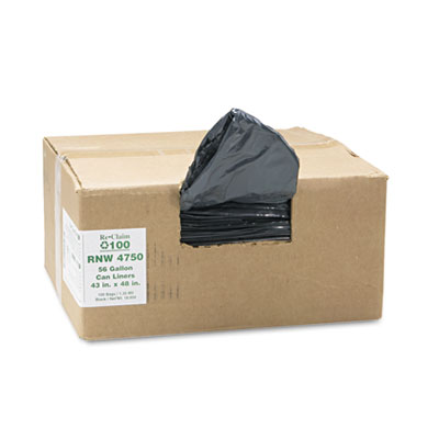 Earthsense Commercial Recycled Can Liners, 56 gal,