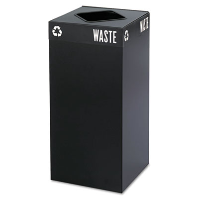 Safco Public Square Recycling Container, Square, Steel, 31