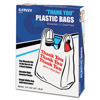 "COSCO ""Thank You"" Bags, Printed, Plastic, .5mil, 11 x"