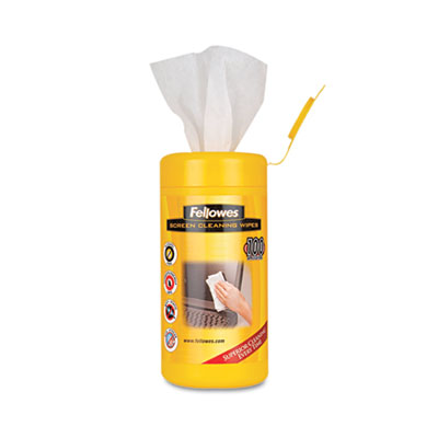 "Fellowes Screen Cleaning Wet Wipes, 5.12"" x 5.90"", 100/Tub"