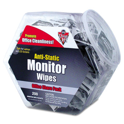 Dust-Off Antistatic Monitor Wipes--Office Share Pack, 5 x