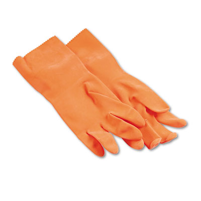 Boardwalk Flock-Lined Latex Cleaning Gloves, Large,