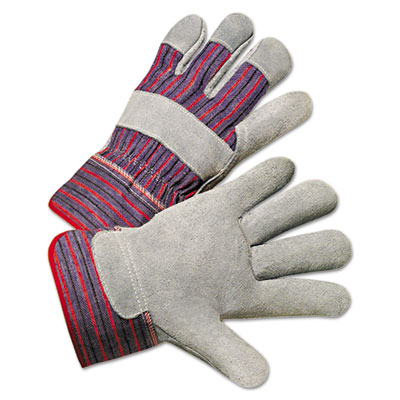 Anchor Brand Leather Palm Work Gloves, Gray/Blue/White