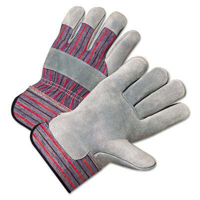 Anchor Brand 2000 Series Leather Palm Gloves, Gray/Red