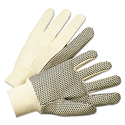 Anchor Brand PVC-Dotted Canvas Gloves, White, One