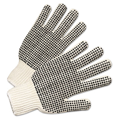 Anchor Brand PVC-Dotted String Knit Gloves, Natural