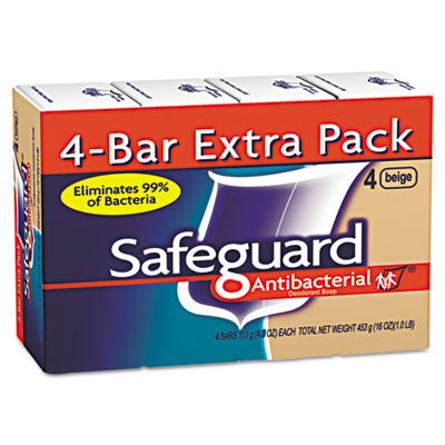 Safeguard Antibacterial Bath Bar Soap, Beige, 4 oz Bar