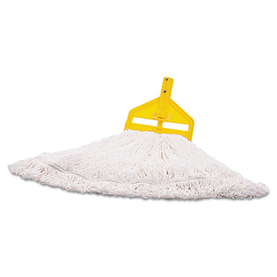 Rubbermaid Commercial Finish Mop Heads, Nylon, White,