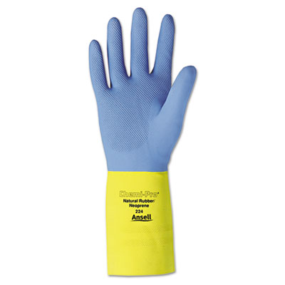 AnsellPro Chemi-Pro Neoprene Gloves, Blue/Yellow, Size 10