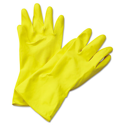 Boardwalk Flock-Lined Latex Cleaning Gloves, Extra-Large,