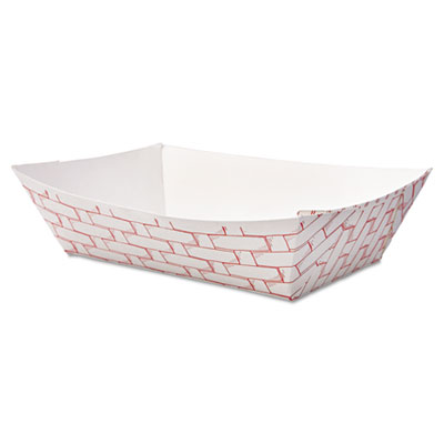 Boardwalk Paper Food Baskets, 2lb Capacity, Red/White