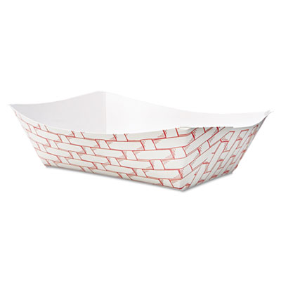 Boardwalk Paper Food Baskets, 3lb Capacity, Red/White