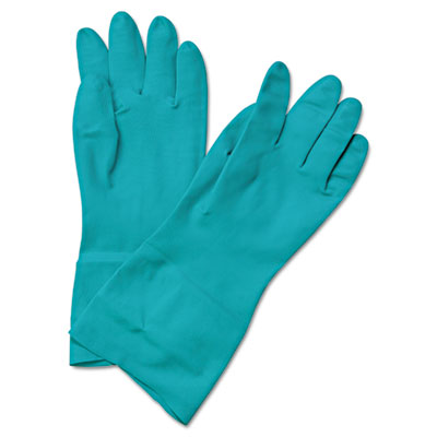 Boardwalk Flock-Lined Nitrile Gloves, Medium, Green, 13 in,
