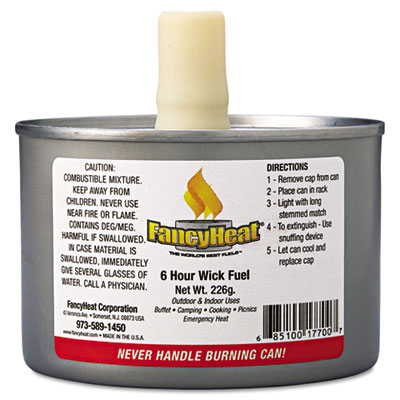 Fancy Heat Chafing Fuel Can, Stem Wick, 4-6 Hour Burn, 8 oz