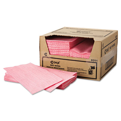 Chix Wet Wipes, 11 1/2 x 24, White/Pink