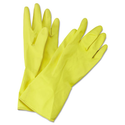 Boardwalk Flock-Lined Latex Cleaning Gloves, Medium,