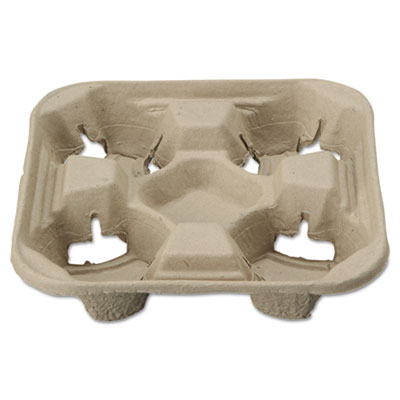 Chinet StrongHolder Molded Fiber Cup Tray, 8-22oz, Four
