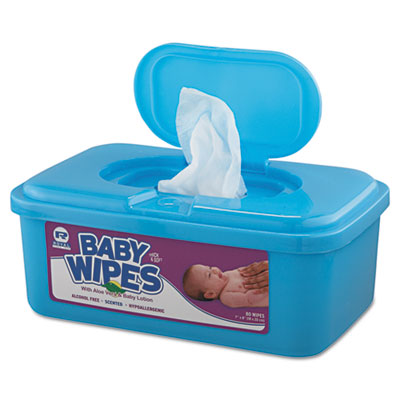 Royal Baby Wipes Tub, Unscented, White, 80/Tub