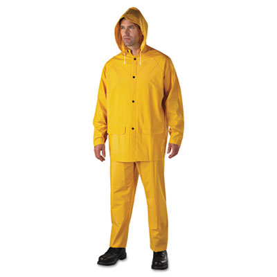 Anchor Brand Rainsuit, PVC/Polyester, Yellow, Size