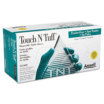 AnsellPro Touch N Tuff Nitrile Gloves, Teal, Size