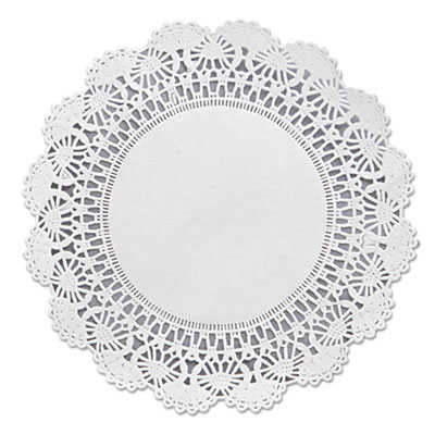 "Hoffmaster Cambridge Lace Doilies, Round, 8"", White"