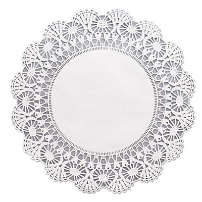 "Hoffmaster Cambridge Lace Doilies, Round, 12"", White"