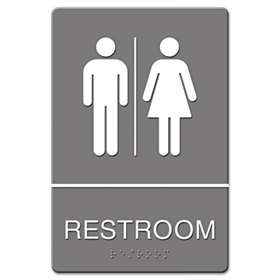 Headline Sign ADA Sign Restroom Symbol Tactile