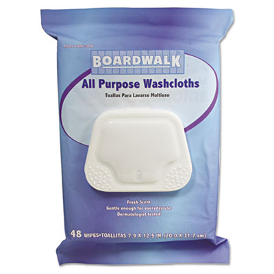 Boardwalk Premoistened Personal Washcloths, 12.5 x
