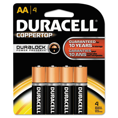 Duracell Coppertop Alkaline Batteries, AA, 4/Pack
