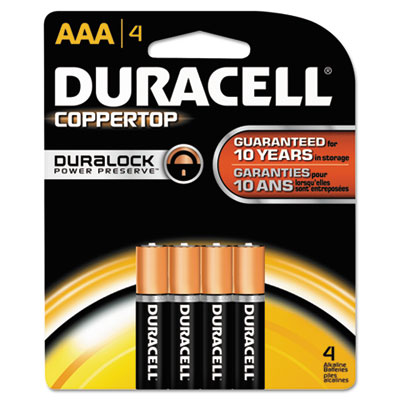 Duracell Coppertop Alkaline Batteries, AAA, 4/Pack