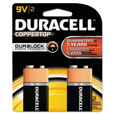 Duracell Coppertop Alkaline Batteries, 9V, 2/Pack