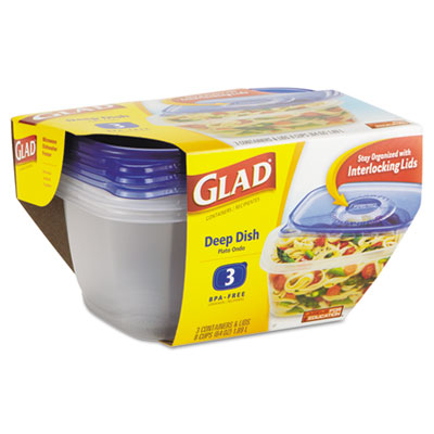 Glad GladWare Deep Dish Food Container, 64 oz., Plastic,