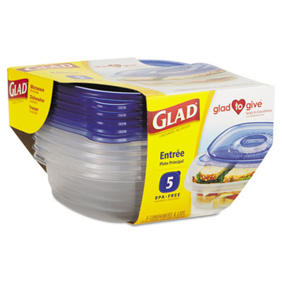 Glad GladWare Entre Container with Lid, 25 oz., Plastic,