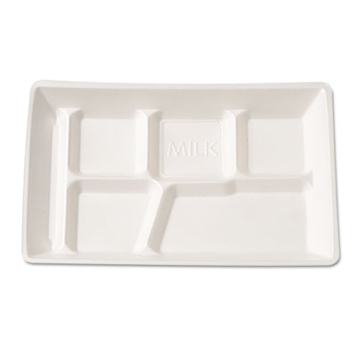 Genpak Foam School Tray, 6 Compartment, 12-1/2 x 8-1/2 x