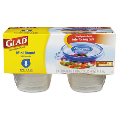 Glad GladWare Mini-Round Food Container with Lid, 4 oz.,