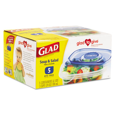 Glad GladWare Soup and Salad Food Container w/Lid, 24 oz.,