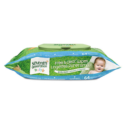 Seventh Generation Chlorine Free Baby Wipes, White,