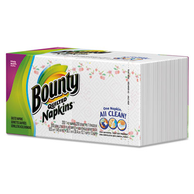 "Bounty Quilted Napkins, 1-Ply, 12"" x 12"", White"