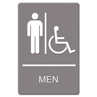 Headline Sign ADA Sign Men Restroom Wheelchair