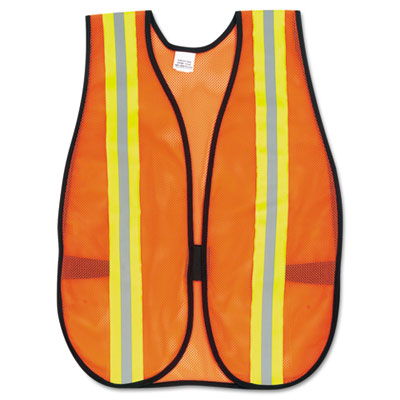 "MCR Safety Orange Safety Vest, 2"" Reflective Strips,"