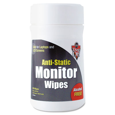 Dust-Off Premoistened Monitor Cleaning Wipes, Cloth, 6 x 6,