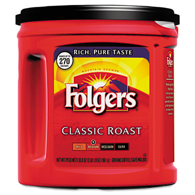 Folgers Coffee, Classic Roast Regular, Ground, 33 9/10 oz.