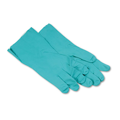 Boardwalk Nitrile Flock-Lined Gloves, Green, X-Large, Dozen