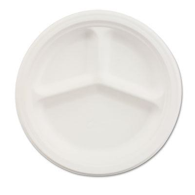 Chinet Paper Dinnerware, 3-Compartment Plate, 10-1/4""