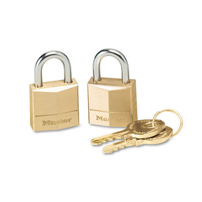 "Master Lock Three-Pin Brass Tumbler Locks, 3/4"" Wide"