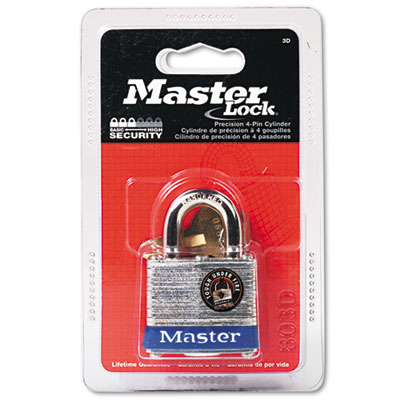 Master Lock Four-Pin Tumbler Lock, Steel Body, 1-1/2""