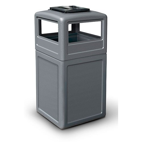 38-Gallon Square Waste Container with Ashtray Dome