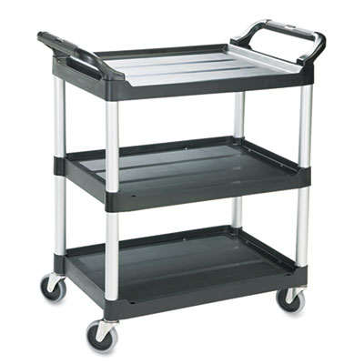 Rubbermaid Commercial Economy Plastic Cart, 3-Shelf,