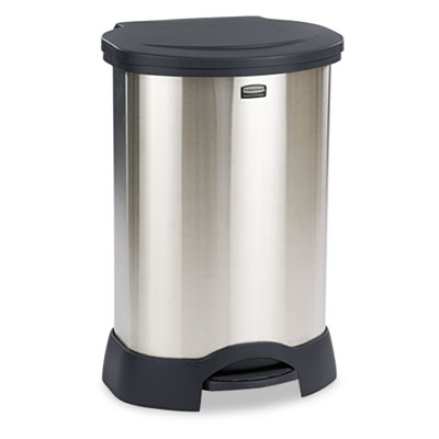 Rubbermaid Commercial Step-On Container, Oval, Stainless