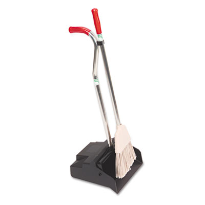 "Unger Ergo Dustpan & Broom, 12"" Wide, Metal/Vinyl-Coated"